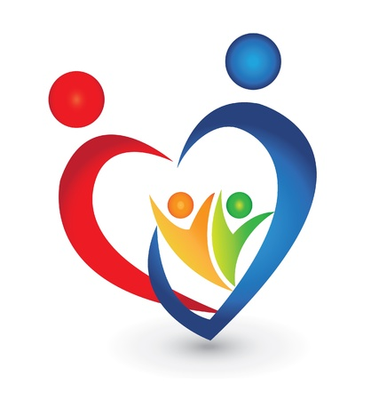 union: Unione familiare in un logo a forma di cuore Vettoriali