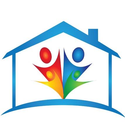 casa logo: Famiglia in un logo nuova casa