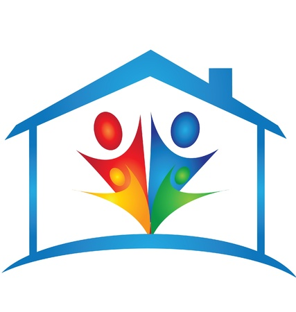 teamwork together: Family in a new house logo