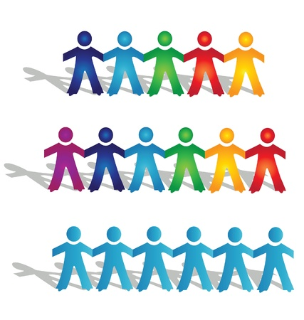 sociedade: Grupos de trabalho em equipe de pessoas logotipo Ilustração