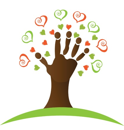 Tree with a hand and hearts around logo
