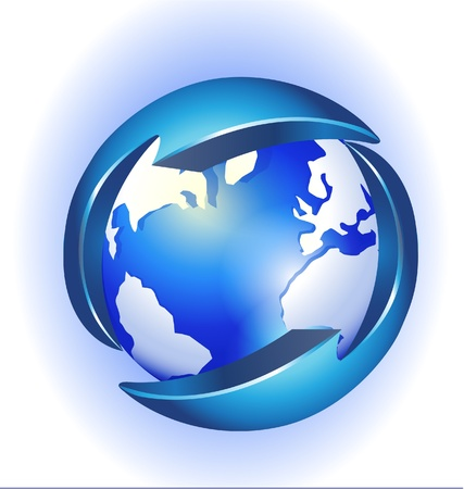 Wereld en pijlen connectiviteit logo Stock Illustratie