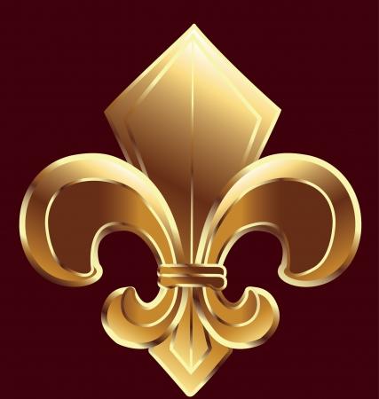 flor de lis: Fleur De Lis, Nueva Orleans en oro vector Vectores