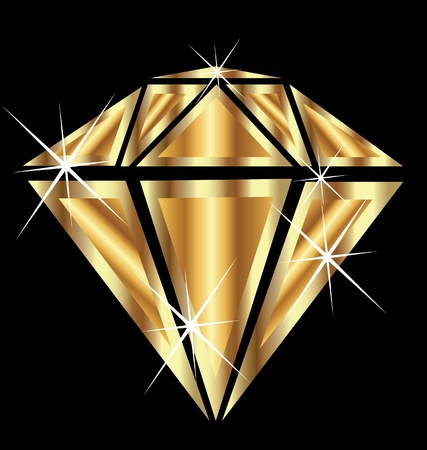 Diamant avec le vecteur éclat des bijoux en or brillant