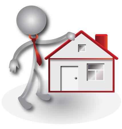 Agent immobilier et de la maison rouge Banque d'images - 15655089