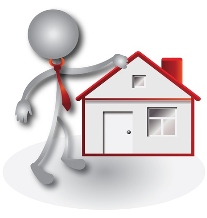 realtor: Realtor and red house Illustration