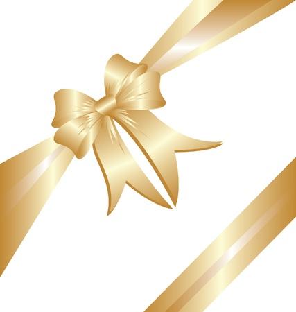 Gold ribbon Christmas gift Stock Vector - 15655092