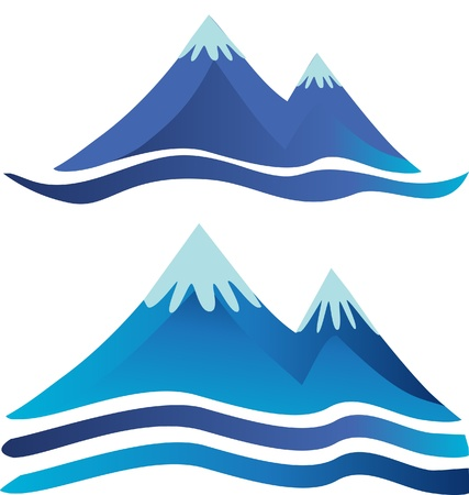 Mountains icons logos with rivers or roads Иллюстрация