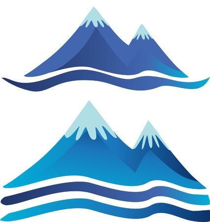 Mountains Symbole Logos mit Flüssen oder Straßen Standard-Bild - 15655093