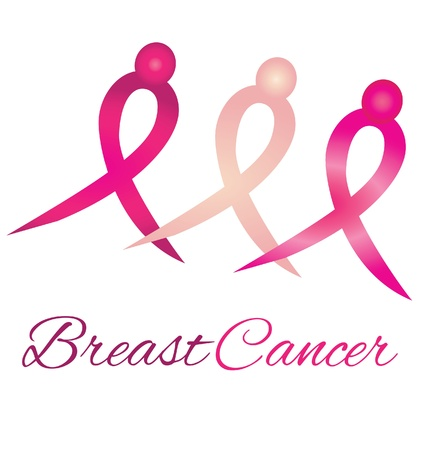 breasts: Breast cancer logo awareness ribbons symbol  Illustration