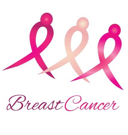 seni: Cancro al seno consapevolezza nastri logo simbolo Vettoriali