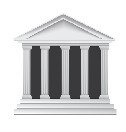 zuilen: Kolommen oude Griekse historisch bankgebouw Stock Illustratie