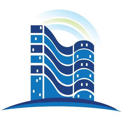 condominium: Real estate apartments building logo Illustration