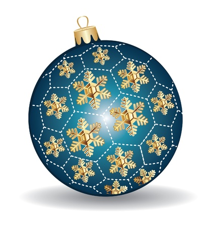 stockmarket: Christmas blue and gold  ball snow flakes Illustration