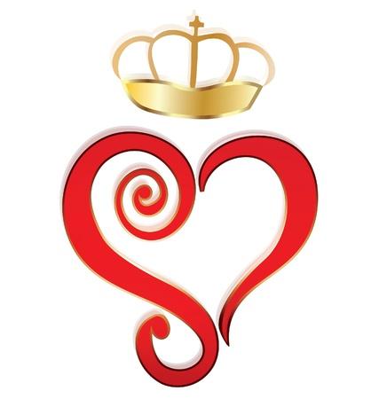 heart and crown: Cuore e corona logo Vettoriali