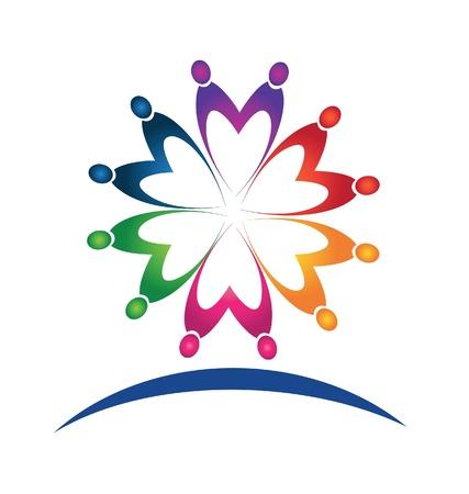 Teamwork people logo Ilustracja