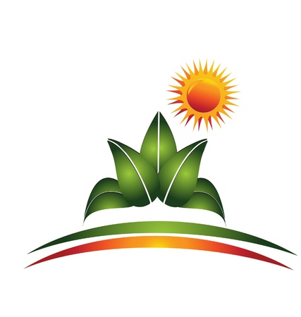 agriculture field: Plant and sun logo  Illustration