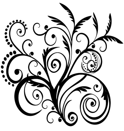 Floral black design Stock Vector - 15829830