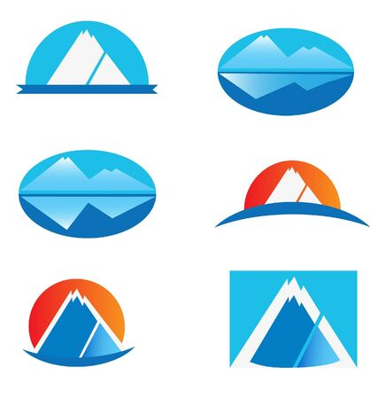 Set of six mountain logos Vector