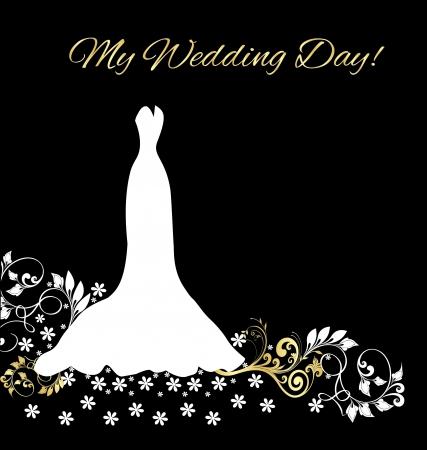 Carte d'invitation de mariage robe Banque d'images - 15886319