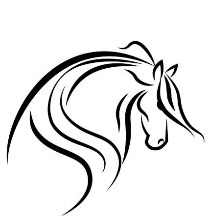 chevaux noir: Logo de silhouette de cheval Illustration