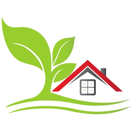 реальный: Реальные дома недвижимости с деревом логотип Иллюстрация