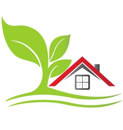 house: Onroerend goed huis met boom logo Stock Illustratie