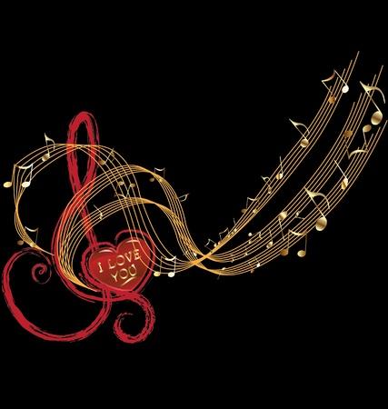 Les notes de musique et d'amour Vecteurs
