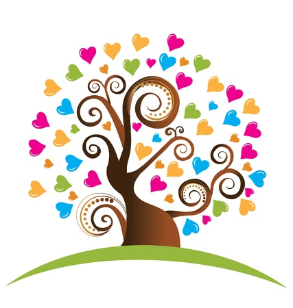 volunteering: Tree with ornaments and hearts logo