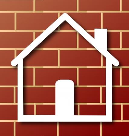 roof line: Casa icono con la pared de ladrillo de fondo