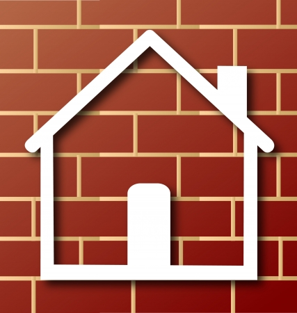 House icon with brick wall background Vector