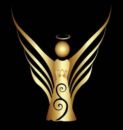 Angel symbol gold ornament vector Vector