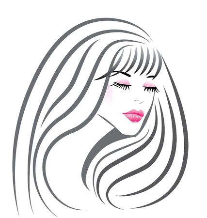 hair style: Beautiful girl face silhouette vector