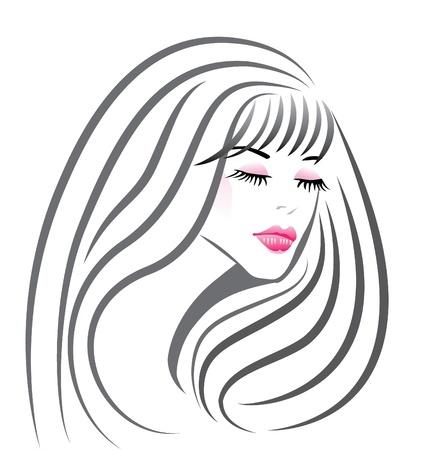 salud sexual: Cara hermosa chica silueta vector Vectores
