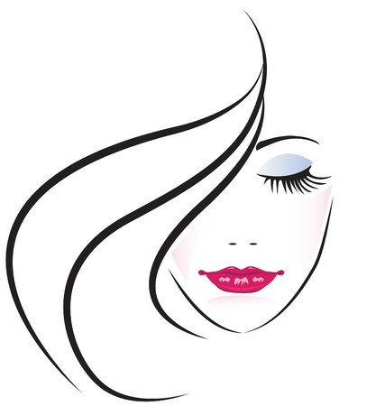 yeux maquill�: Visage de jolie femme silhouette Illustration