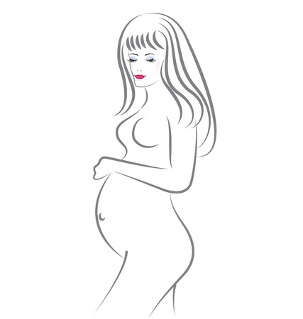 Pregnant beauty woman  Vector