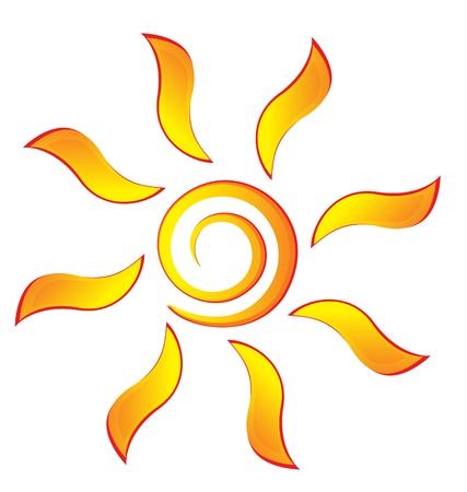 rises: Sun with swirly rays logo