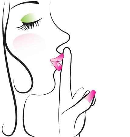 noiseless: Lady making silence sign  Illustration