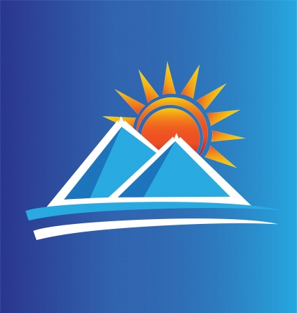 Montagne e logo Sun Archivio Fotografico - 16099617