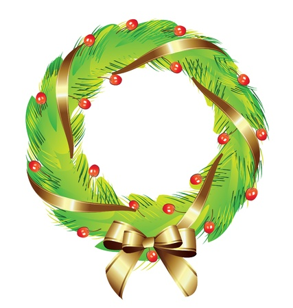 wreath: Christmas wreath with gold ribbon
