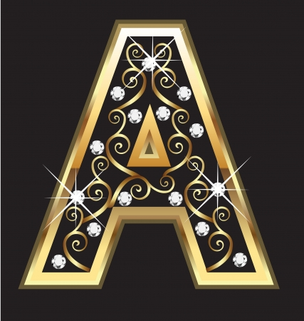 A gold letter with swirly ornaments