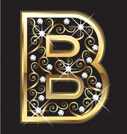 18k: B gold letter with swirly ornaments