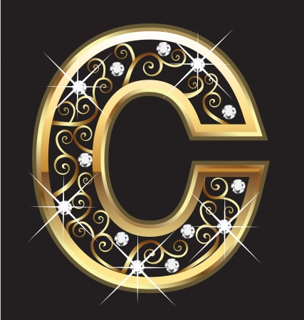 gold alphabet: C gold letter with swirly ornaments