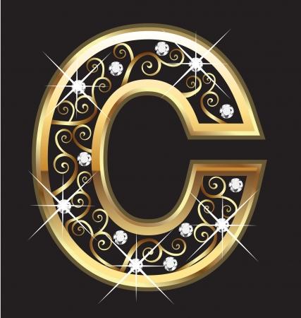 letras de oro: Letra C con adornos de oro swirly