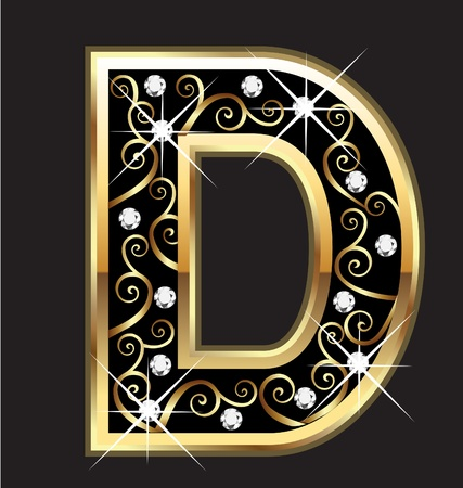 D gold letter with swirly ornaments Stock Vector - 16099621