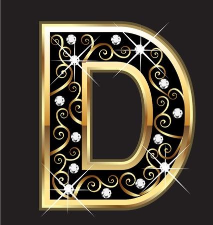 D goud brief met swirly ornamenten