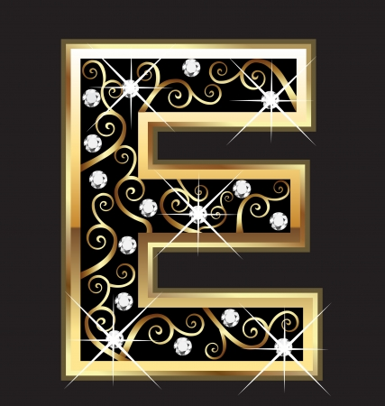 E gold letter with swirly ornaments Vectores