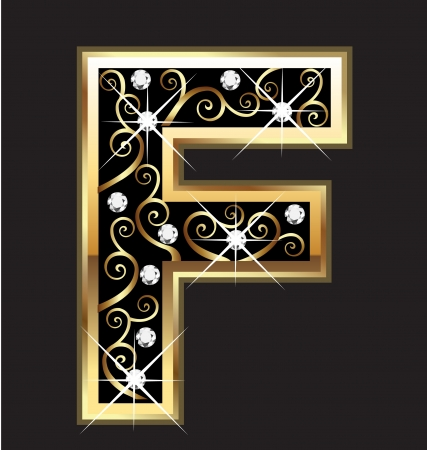 18k: F gold letter with swirly ornaments