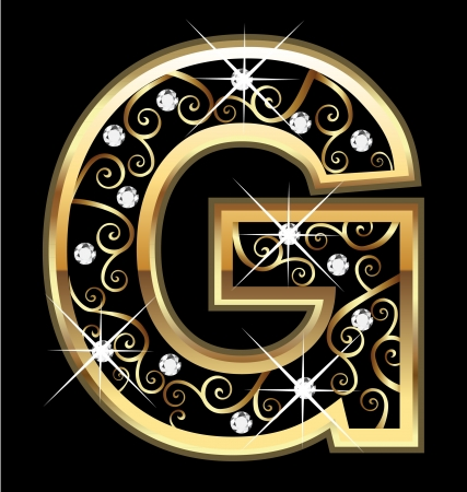 G gold letter with swirly ornaments Vectores