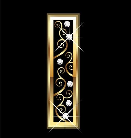 Ik gouden brief met swirly ornamenten Vector Illustratie